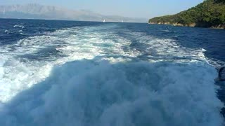 Sea trail of cruising ship in Ionian Sea - Video