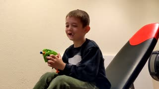 Boy shoots out his loose tooth with a Nerf blaster