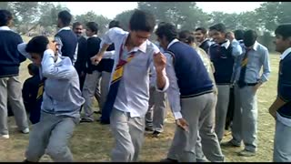 boys dancing in sports gala at college  - Video