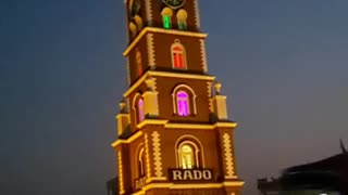 Beautiful view of Clock Tower in Sialkot at Night  - Video