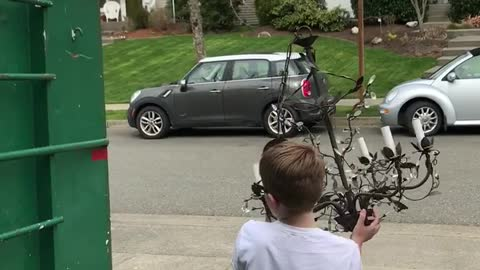 Kid Shatters Chandelier Trying To Throw It In Dumpster