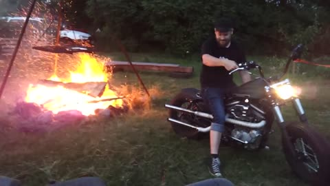 Using Harley Davidson Motorcycle Engine To Start A Campfire