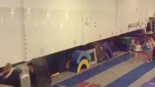 Gymnastics practice second girl fails