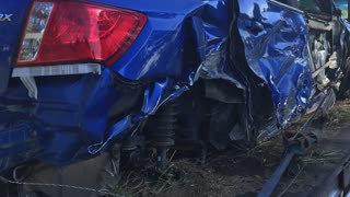 Distracted Driver Totals Subaru - Video