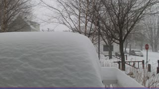Storm time lapse shows blizzard snowfall - Video