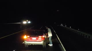 Vehicles Block Drunk Driver on Road When He Stops to Pee - Video