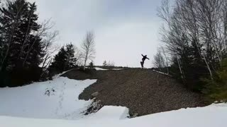 Snowboarder Goes for Huge Jump and Fails - Video