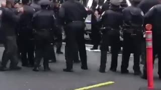 Nypd police celebrates on street  - Video