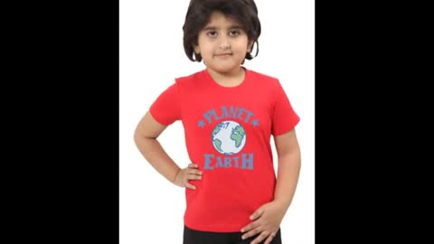 Kids Red Colour Funny Design T Shirts