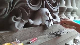 House Construction - Creative Workers Flower from sand and cement