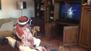 Grandma can't handle VR shark attack  - Video