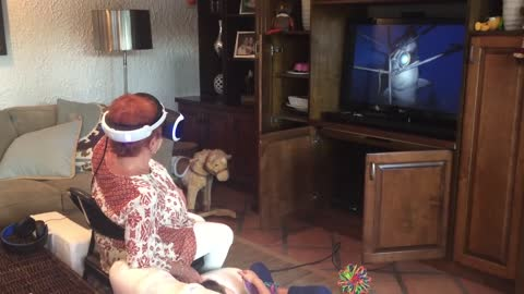 Grandma can't handle VR shark attack