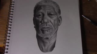 Superrealism time lapse drawing of Morgan Freeman - Video