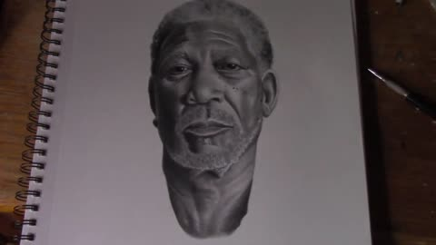 Superrealism time lapse drawing of Morgan Freeman