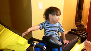 Baby Wants To Go For A Ride On The Scooter, But Not With Daddy!  - Video