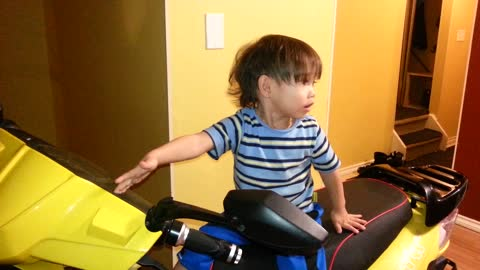 Baby Wants To Go For A Ride On The Scooter, But Not With Daddy!