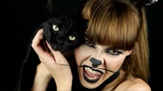 Halloween makeup tutorial: Mysterious cat - Video