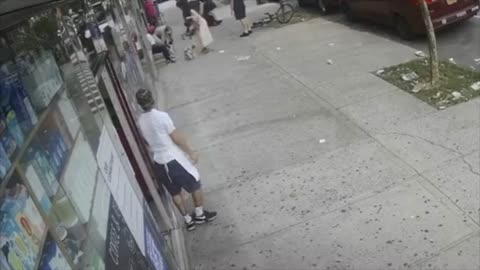 NYPD firefighters take down cyclist after he knocks out an elderly man in a random attack