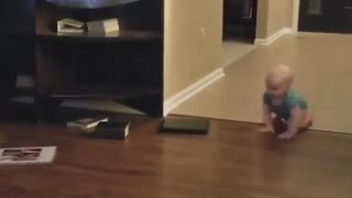 Funny baby with dog at home