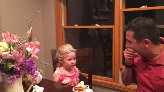 Little Girl Disgusted by Dad Eating Fake Food - Video