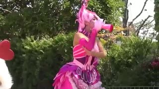 Pink Female Dancers In Street Show