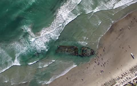 Recent storms unveil ancient ship wreckage on California beach