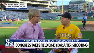 One year after shooting Scalise returns to baseball field - Video
