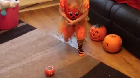 Adorable toddler sings Halloween song