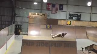 Collab copyright protection - brown shirt skate park face slam - Video