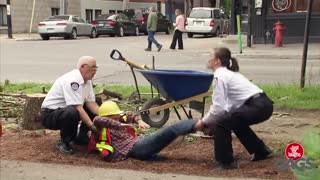 Construction Worker Sawed in Half Prank - Video