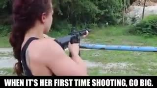 Her first time shooting - Video