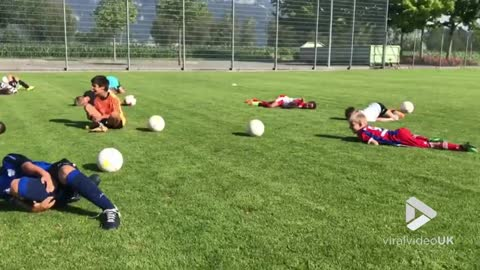 Young soccer players do the ''Neymar''