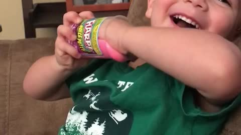 Toddler Discovers that the Flarp is funny! (Fart sounds)