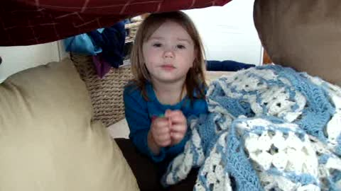 Little Girl Pretends To Be Troll And Won't Let Dad In Fort