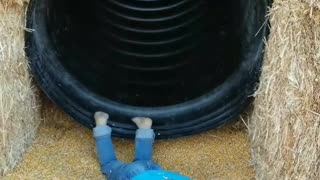 Kid faceplants down the slide - Video