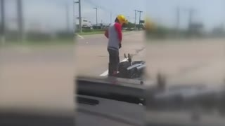 Woman runs into motorcyclist, brags about it online
