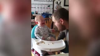 Baby Cries After Hearing Terrible Dad Joke - Video