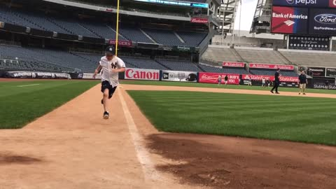 Running the bases at Yankee Stadium