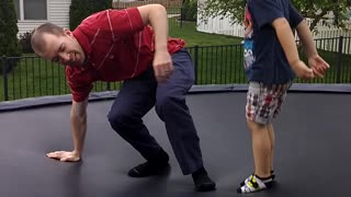 Nerdy Dad Falls Off Trampoline - Video