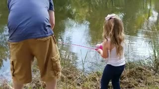 Little Girl Reels in Monster Bass