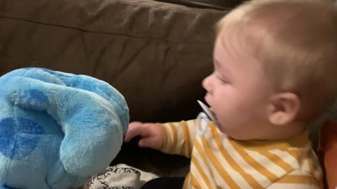 Baby Gets the Giggles from Toy Dog's Floppy Ears