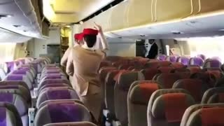 Flight Attendants Have Fun By Dancing On Empty Airplane