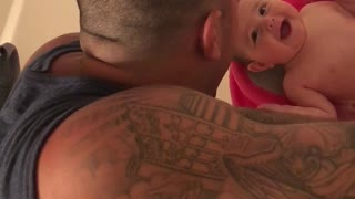 Baby laughs ever time she sees dad's face - Video