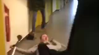 Guy on crutches hand stand flips and falls hallway