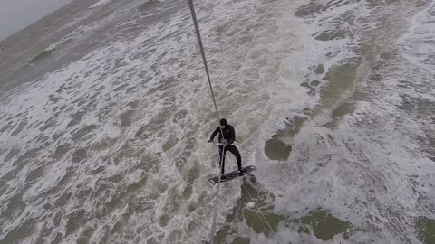 Kitesurfing - Small wave at Ouddorp