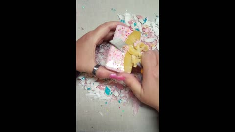 ASMR dry beautiful painted soap set with clay cracking