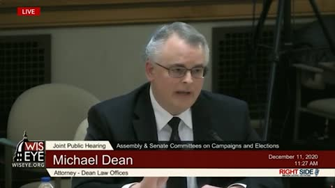 Witness # 4 (Attorney) Speaks at Wisconsin Legislature Hearing on Election Integrity. 12/10/20.