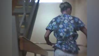 Bored Nurse Tries To Ride Broomstick Down Stairwell - Video