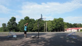 Double trampoline basketball trick shot