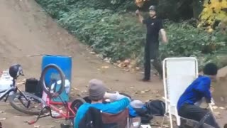 Guy black clothes backflip bike fail dirt hill ramp
